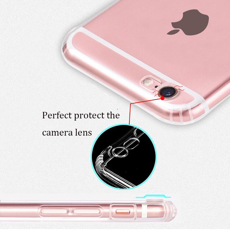 Chinese supplier for iphone6s case ultra thin transparent anti-slip shockpoof dust plug cover case for apple iphone 6
