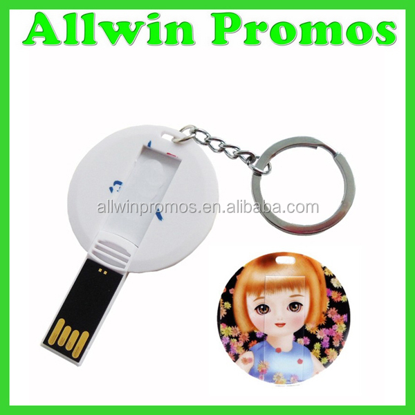 4GB Round Badge USB Flash Drives With Key Chain