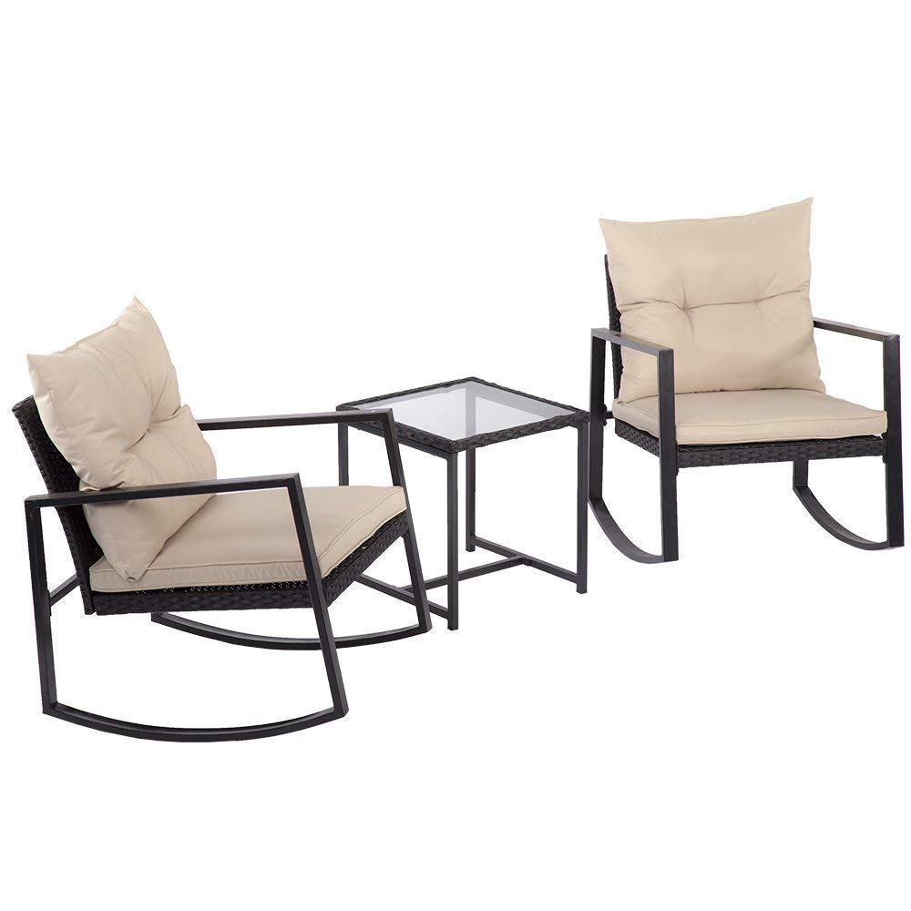 Outdoor 3 Pcs Wicker Patio Furniture Sets Rocking Wicker Bistro Wicker Sofa Set with Two Chairs and One Coffee Table for Yard