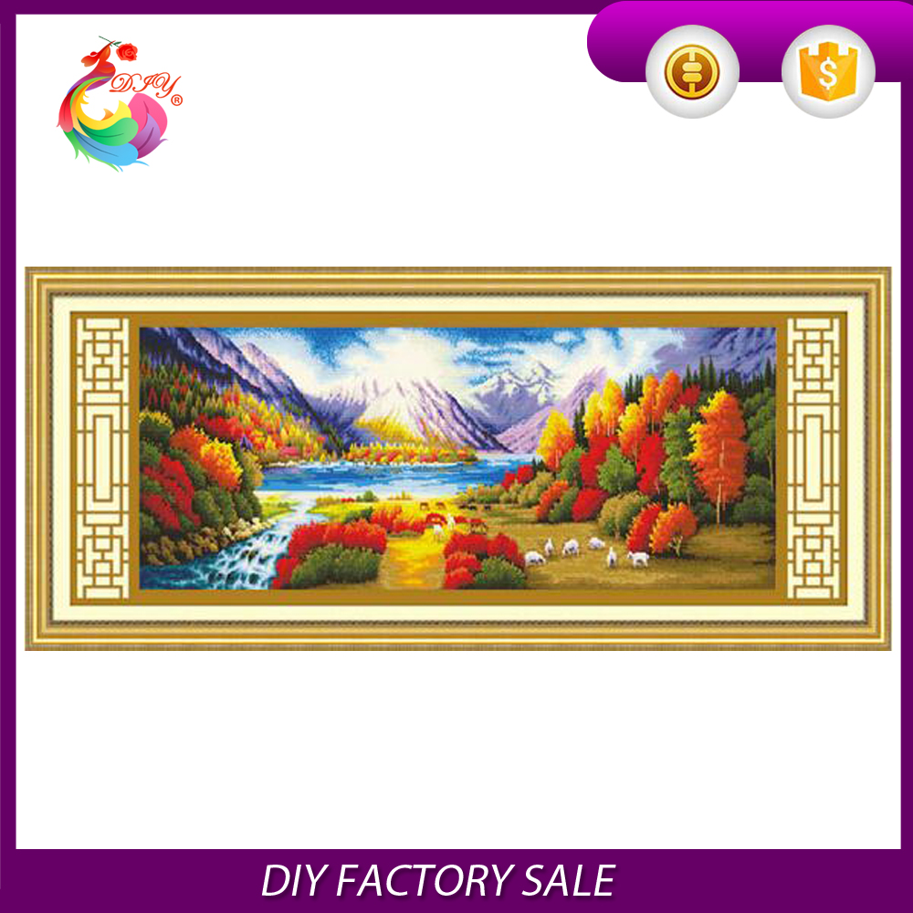The new living room hot selling cross-stitch foreign trade model Golden rich scene graph