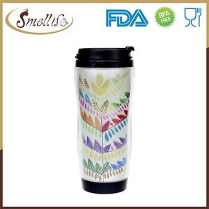 DIY 350ml 12oz Double Wall Plastic iced coffee travel mug with removable insert