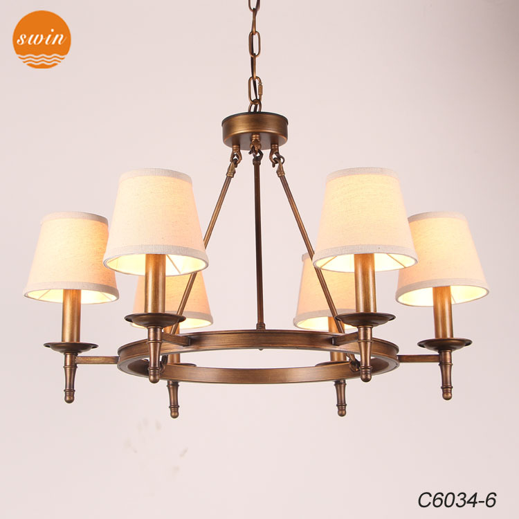 European Linen Shade Collins Chandelier 6-lights Antique Brass ...