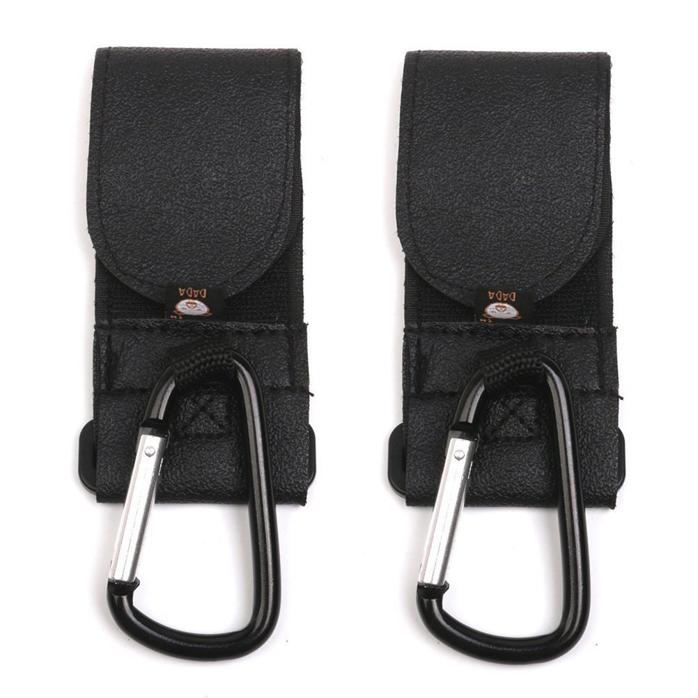 Nuolux 2pcs Buggy Pram Pushchair Stroller Metal Hanging Clip Hooks (Black)