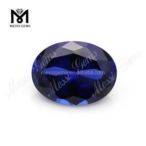 10x14mm Egg shape oval cut created blue sapphire corundum