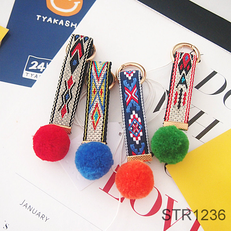 Newest Women Bag Charms Accessories Bohemia Style Fur Ball Keychain pom pom Keychain