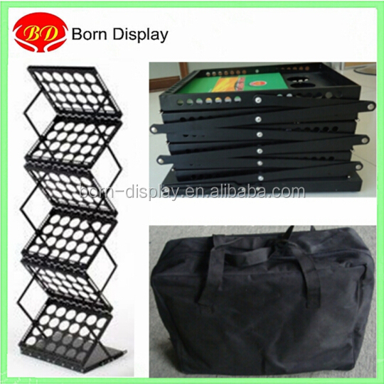 Collapsible iron stand a4 metal foldable booklet holder