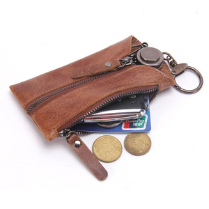 2018 New Compact Organizer Genuine Leather Car Key Holder Wallet