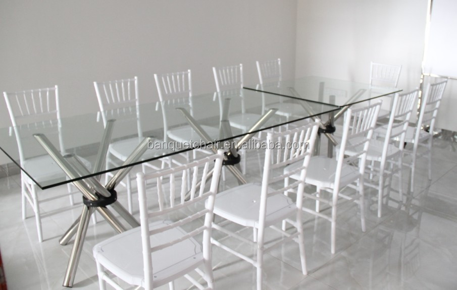 Hot Sale Rectangle Modern Glass Table Top Hotel Wedding Table