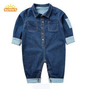 2017 popular baby cute jean onesie long sleeve rompers wholesale