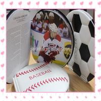 Coin shape brochure design mini football ball basketball brochure , football basketball baseball sport fans collection book .
