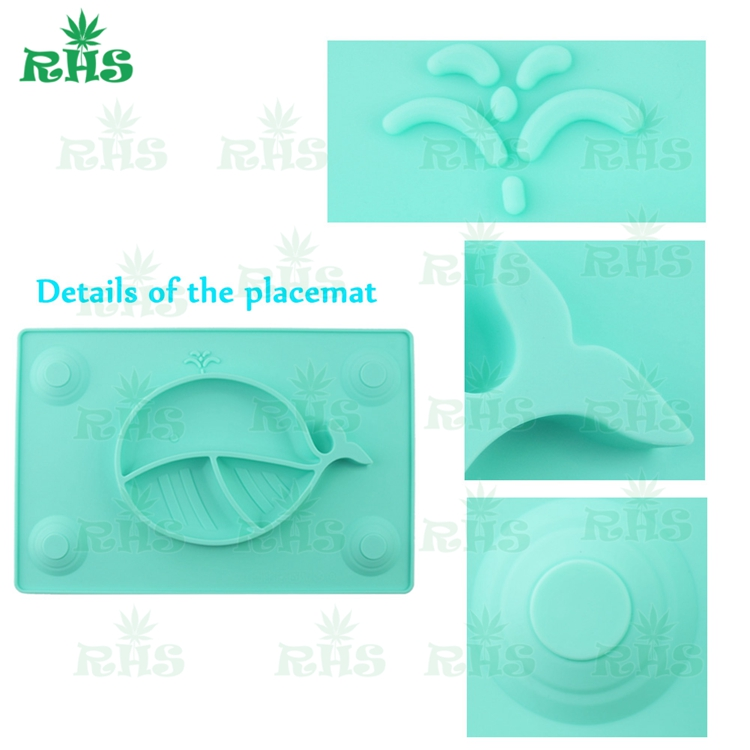 OEM supported custom silicone placemat plate one piece suction baby food plate mat one-piece healthy silicone placemat