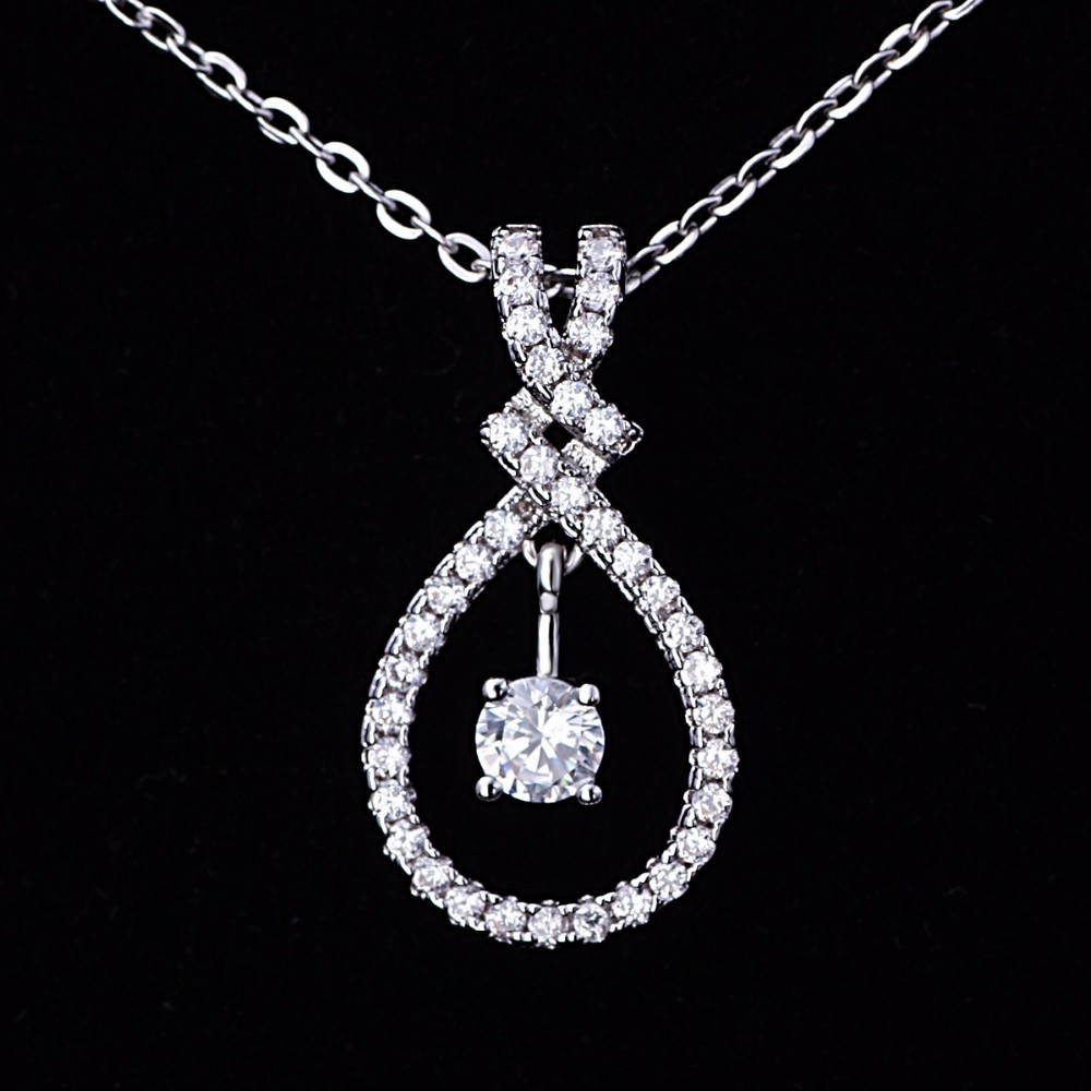 Costume Jewelry Necklace One Big Single Large Stone Cross CZ Pendants Chain Necklace Designs