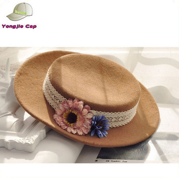 76c63aeca39 Girls flowers 100% Wool Felt Large Brim Flat Top Porkpie Fedora Hats Made  in China
