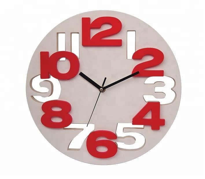 Emboss number modern home decor wall clock
