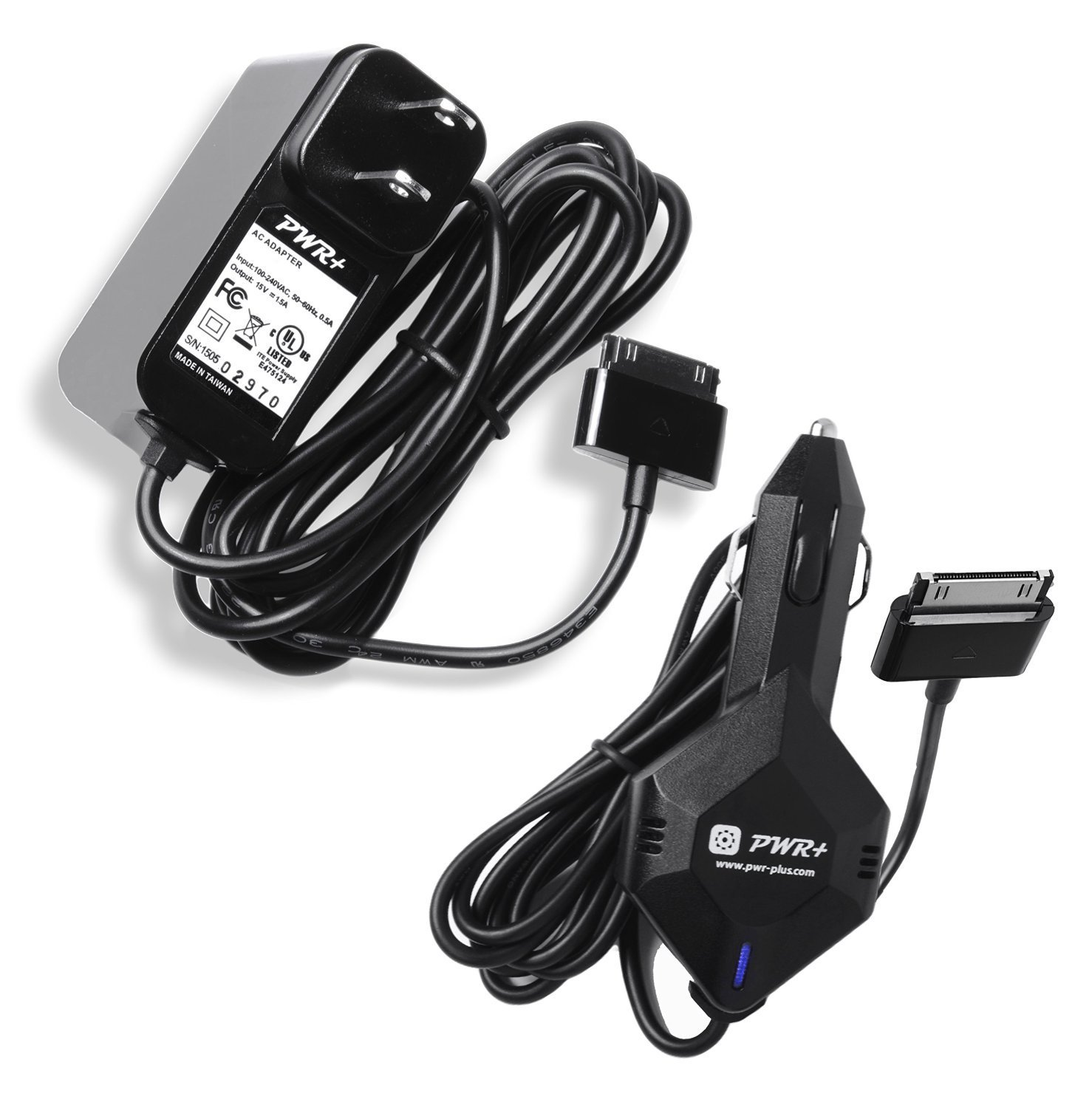 [UL Listed] Pwr+ Extra Long Cord Combo Rapid Car Charger and Ac Adapter for Asus Transformer Pad Infinity Tablet Pc Tf700 Tf700t ; 90-xb2vokpw00000y Epad-01 15v Tab Dc Auto Power Supply