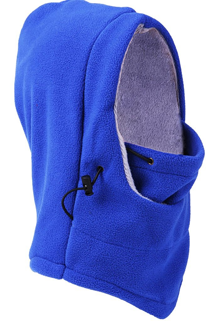 Bigood(TM) Thick Wool Outdoor Hooded Hat Windproof Cap Headcover Scarf Blue