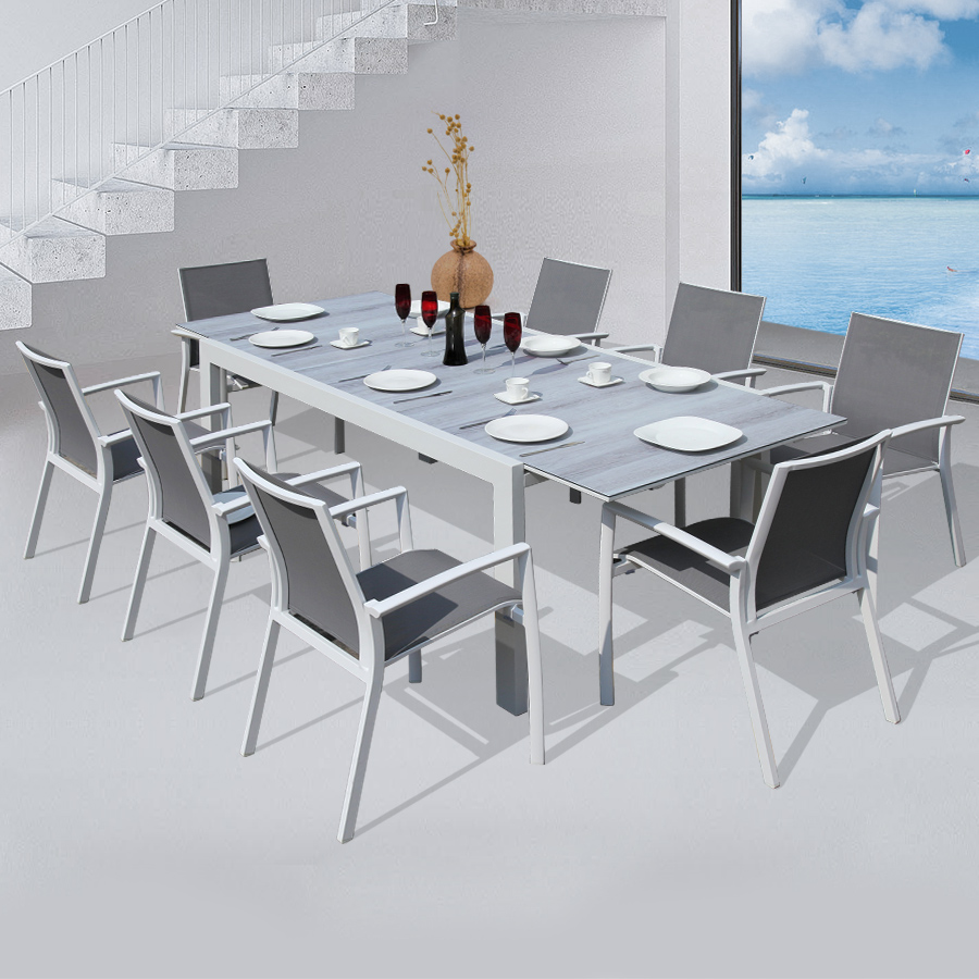 Commercial & Residential Extensible dining table with 8 pieces modern design armchair Indoor & Outdoor Patio Furniture