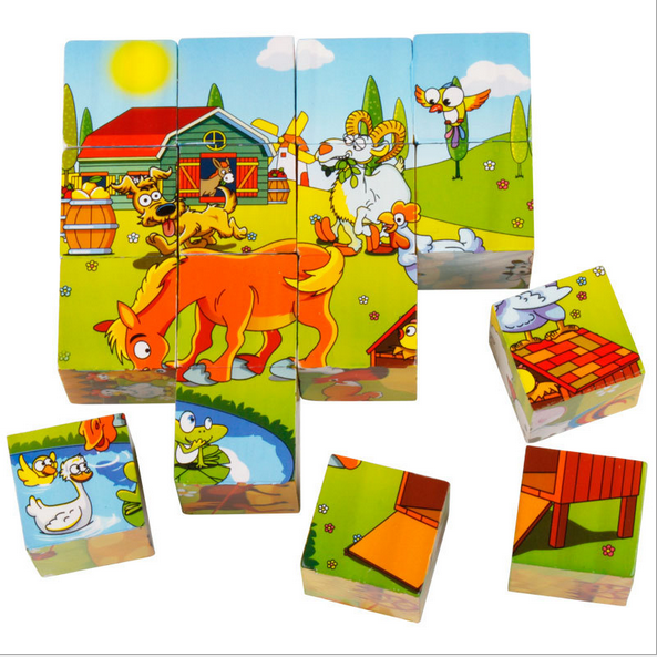16 pcs kids toys wood heat transfer printing 6 designs directly safety wooden blocks cube 3d puzzles in box pop toys