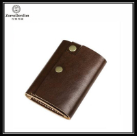 Simple design handmade genuine leather tri-fold mens wallet card wallet and money clip