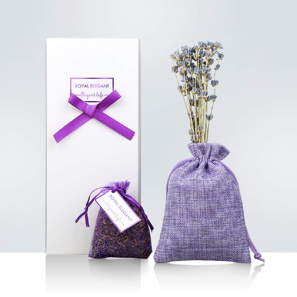 Pack of 2 Natural Dried Lavender Sachet Gift with A bunch of Lavender Flower for Drawers and Closets, Clothes Storage, Shoes Cabinet, Pillow , DIY etc, Fresh and Lasting