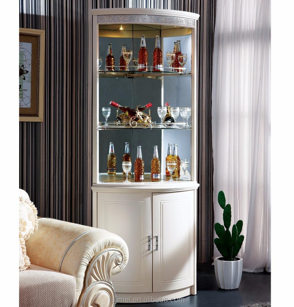 Ivory White Mdf Corner Wine Cabinet