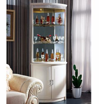 Ivory White Mdf Corner Wine Cabinet With Lighting In Top Panel - Buy Corner  Wine Cabinet,Decorative Wine Cabinet,Livingroom Corner Cabinets Product on  ...