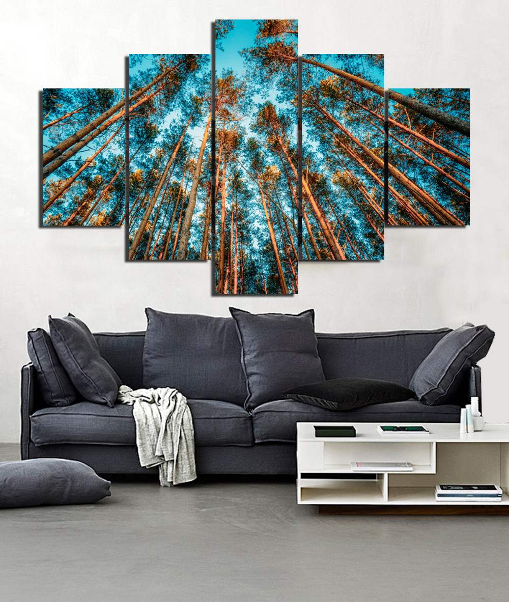 5Pcs Combined Forest Tree Trunk Canvas Paintings Modern Wall Art Landscape Frame Picture Printing Living room Home Decor RA0026