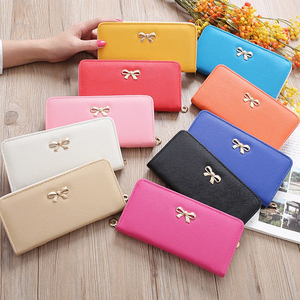 Slim ladies Cheque wallet card holder zipper coin purse wallets fancy feminina clutch wristlets women long leather Bolsa