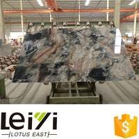 Black Marble Slabs with golden pink Veins