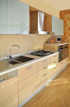 Charmant European Stye Glass Door Maple Melamine Kitchen Cabinet
