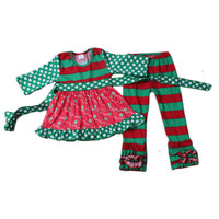 new arrival baby girl christmas outfit green red dress match stripe ruffle pants set import baby clothes china