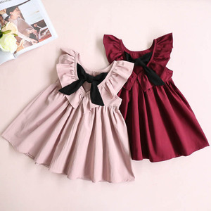 2019 fashion kids girl clothes pink and red plain colour backless children girl cotton dress with bow