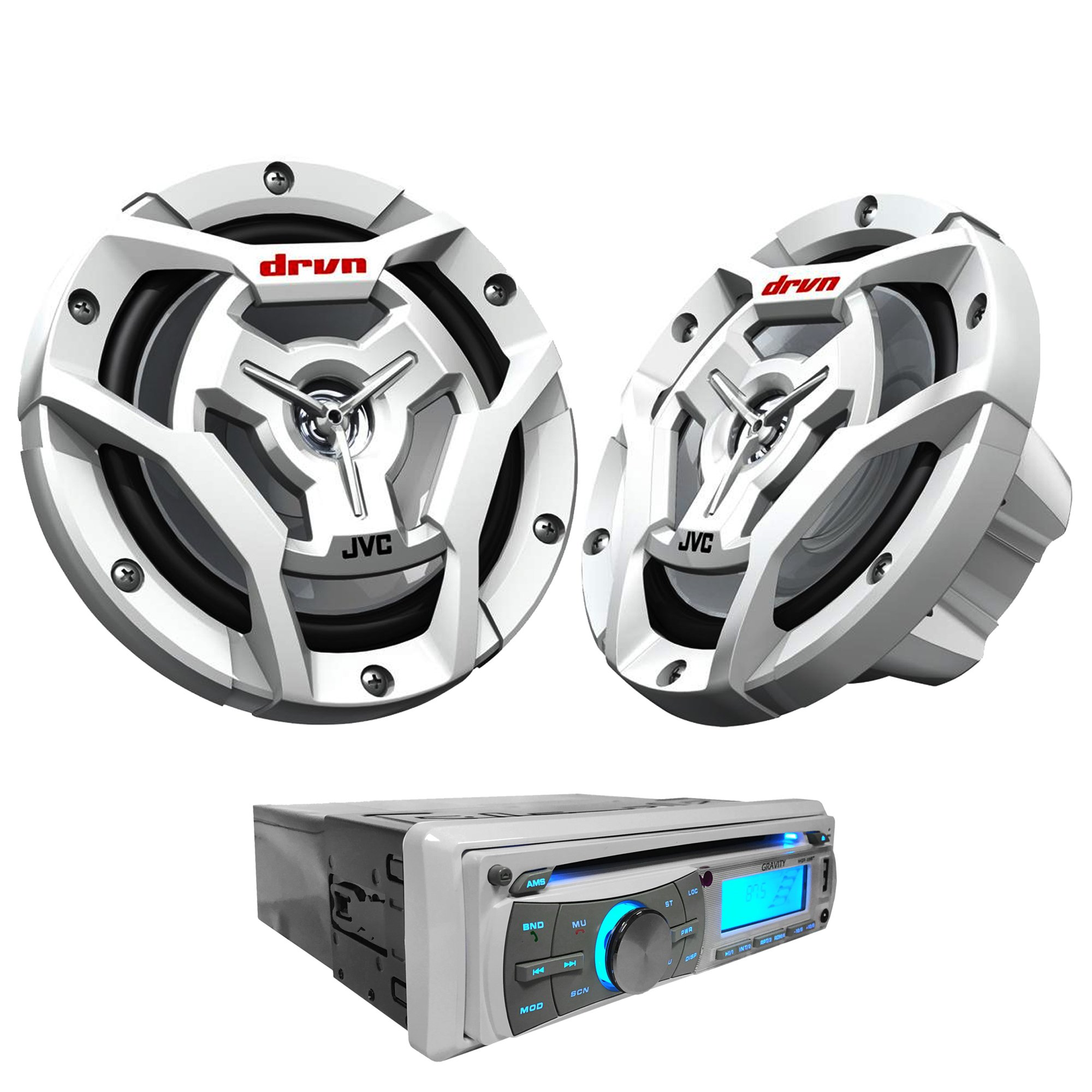 """JVC Marine Package - 1 Pair JVC CS-DR6201MW 100W 6.5"""" 2-Way Waterproof White Coaxial Speakers + Gravity MGR-208BT 300W Single Din Marine Receiver For Boat/Yacht/Outdoor"""