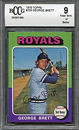 1975 topps #228 GEORGE BRETT royals rookie card (50-50 CENTERED) BGS BCCG 9 Graded Card
