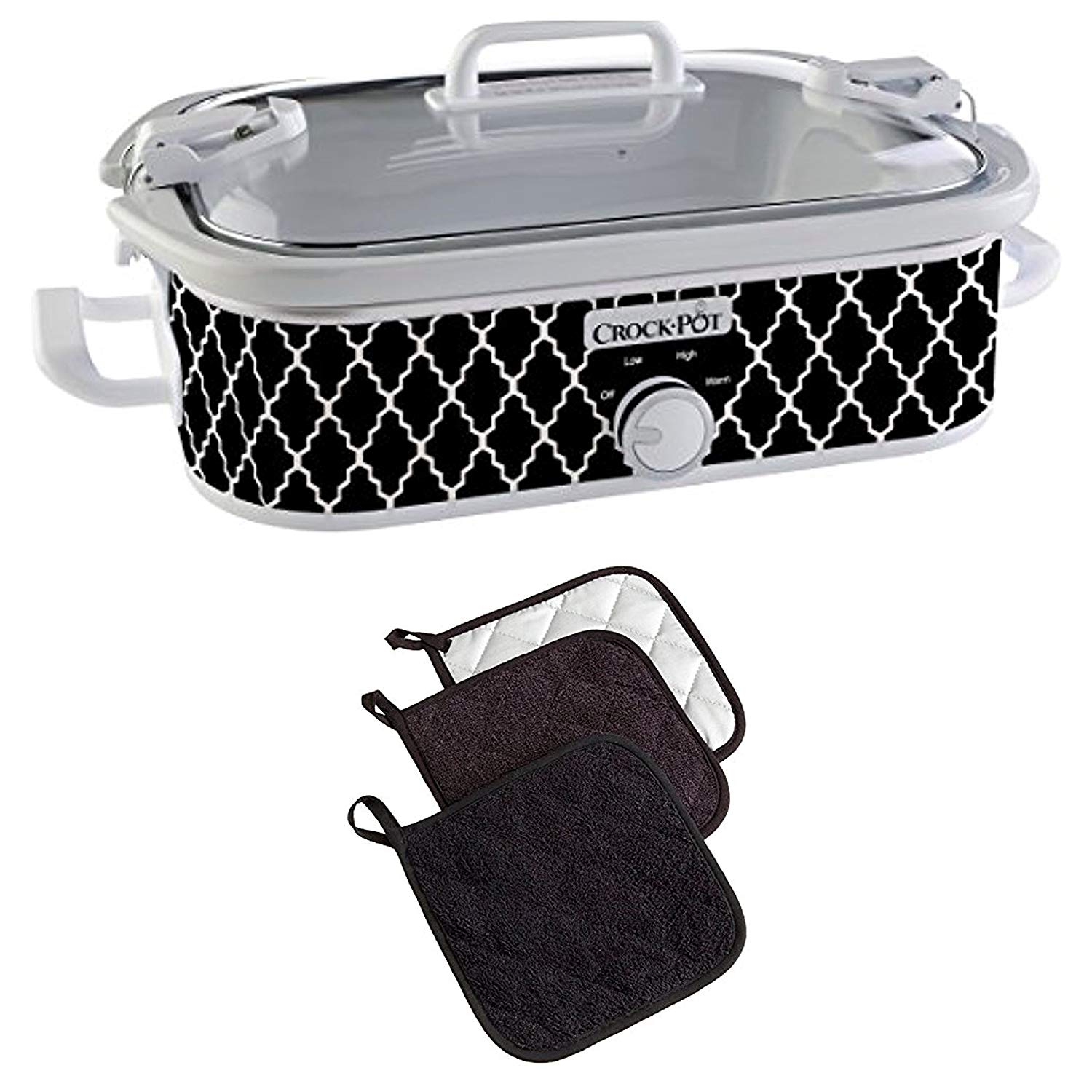 "Bundle Includes 2 Items - Crock-Pot 3.5-Quart Casserole Crock Manual Slow Cooker, Black and White and DII Cotton Terry Pot Holders, 7x7"" Set of 3, Heat Resistant and Machine Washable Hot Pads"
