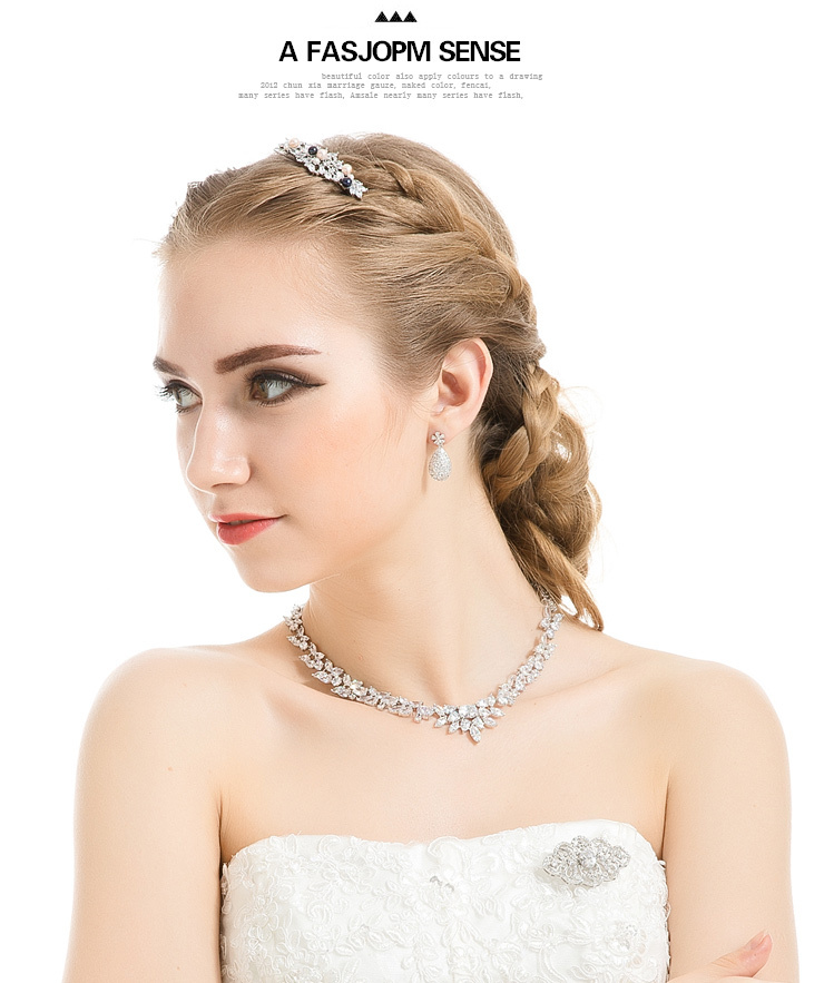 LUOTEEMI Elegant CZ Stone Jewelry Set for Wedding Bride Party Top Quality Jewelry