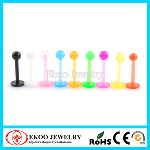 Bio Flexible Labret With Ball Plastic Labret Piercing Jewelry