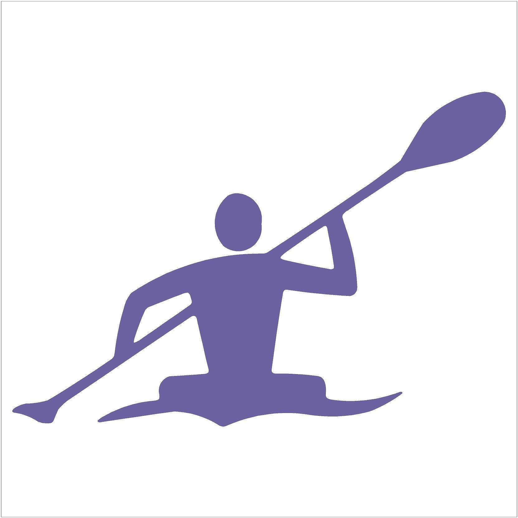"""Kayaker Paddle Kayak Canoe Decal (6"""" decal, Lavender)"""