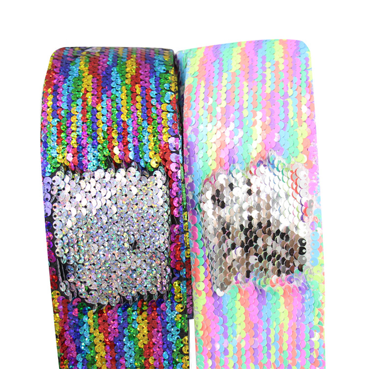 Hot Selling Decorative Glitter Sparkle Fabric Heat Transfer Printed Reversible Sequin Ribbon