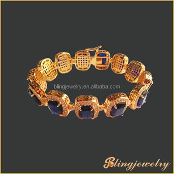 Hip Hop Jewelry 18k Gold Plated Bracelet Big Ruby Stone Bracelet For