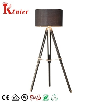 New modern room home Adjustable black tripod floor standing wood lamp for hotel floor lamp