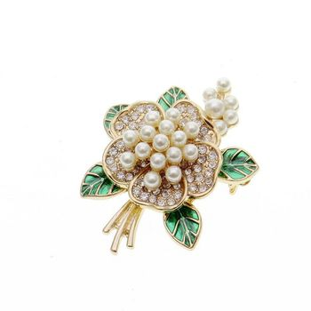 Jewelry Brooch Accessory Fashion Vintage Elegant Luxury Rhinestone Flower Pearl Corsage Enamel Flower Brooch