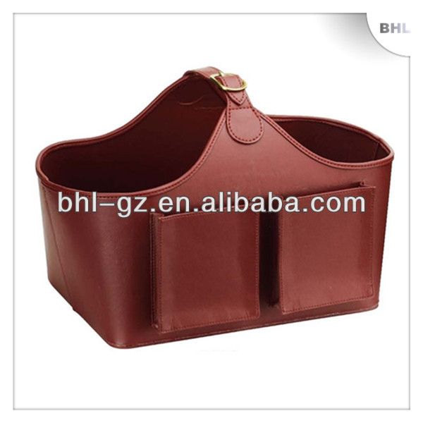 Hot Sales! Christmas gift faux leather storage basket with 2 pockets, household laundry basket, hotel supplies wine basket