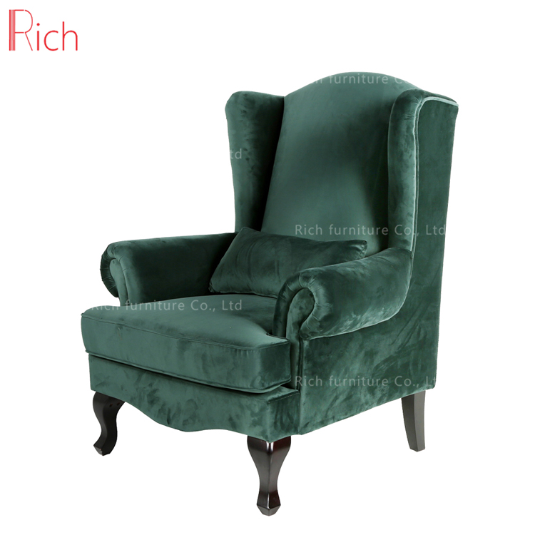 European French Antique Style Wholesale Fancy Ocasional Chairs Comfortable Velvet High Back Arm Chair For Wedding