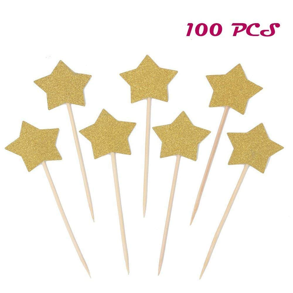 Get Quotations Finico 100 PCS Gold Star Cupcake ToppersLittle Decorations Birthday ToppersStar