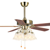 "48"" decorative ceiling fan with wood blades and 5 E27 LED light bulbs"