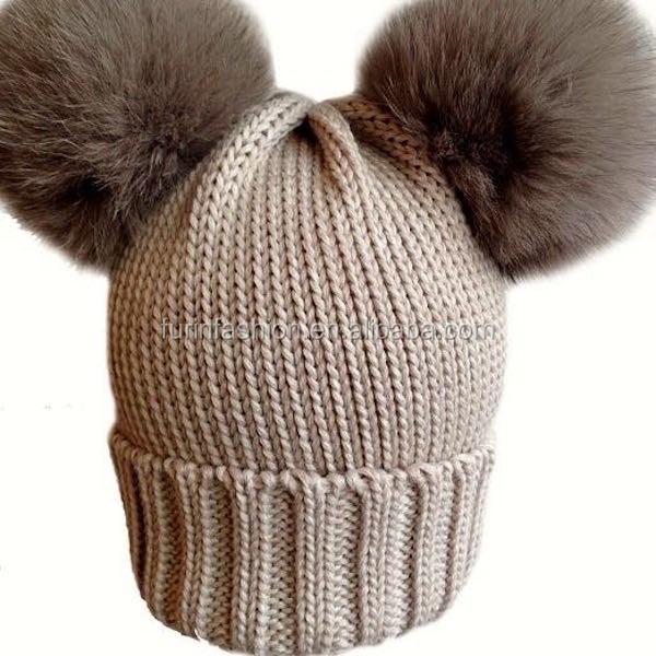 81c420441a2fe Nueva llegada de punto Merino lana bebé sombrero con dos piel de zorro Pom  bolas para
