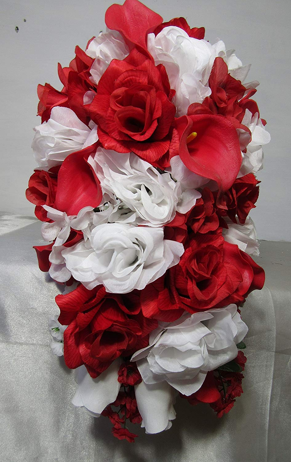 Red White Rose Calla Lily Cascading Bridal Wedding Bouquet & Boutonniere