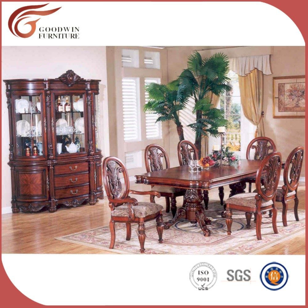 Italiaanse klassieke eetkamer tafel 6 stoelen wa161 for Muebles de sala tallados en madera