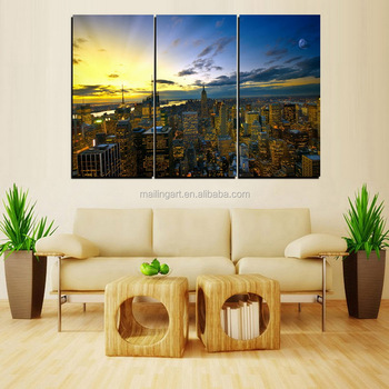 3 Panel Canvas Wall Art NewYork City Painting for Home Office ...